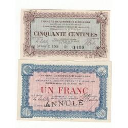 Lot de 2 Billets Chambre de Commerce Auxerre NEUFS