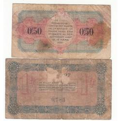 Lot de 2 Billets Chambre de Commerce  d'Annecy 1916-1917
