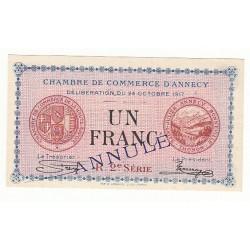 1 Franc Chambre de Commerce Annecy 1917 ANNULE NEUF