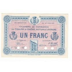 1 Franc Chambre de Commerce Chalon s/Saône SPECIMEN NEUF Pirot 5