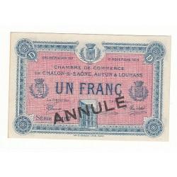 1 Franc Chambre de Commerce Chalon s/Saône ANNULE NEUF Pirot 19