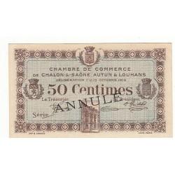 50 Centimes Chambre de Commerce Chalon s/Saône ANNULE NEUF Pirot 9