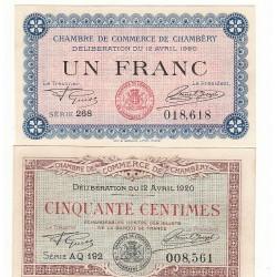 Lot de 2 Billets Chambre de Commerce Chambéry SPL Pirot 12 et 14