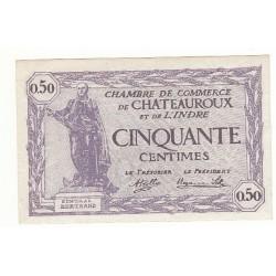 50 Centimes Chambre de Commerce Chateauroux NEUF Pirot 24