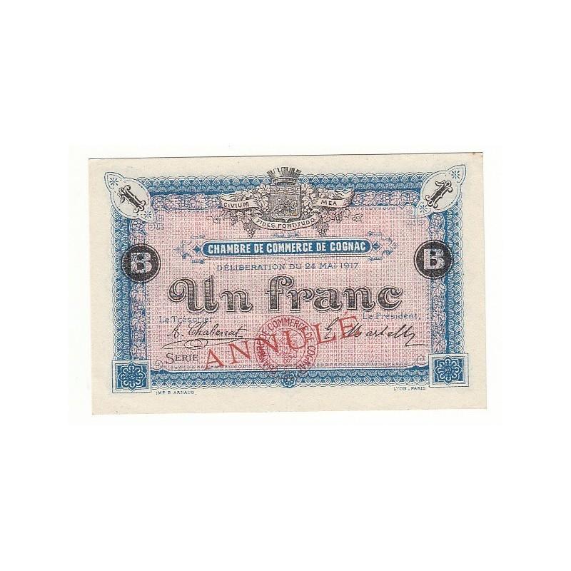 1 Franc Chambre de Commerce Cognac NEUF ANNULE Pirot 8