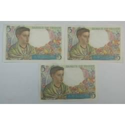 lot de 3 x 5 Francs Berger du 2-6-1940