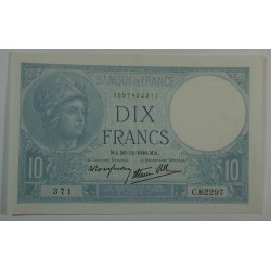 10 Francs MINERVE du 26-12-1940 Sup+