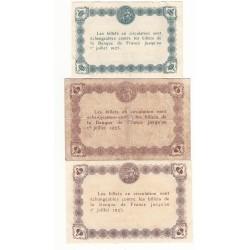 Lot de 3 billets Chambre de Commerce de D'EPINAL Neuf Pirot 1 et 23
