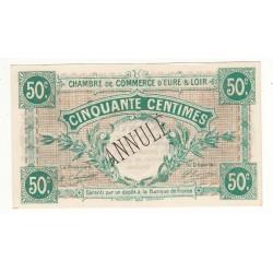 50 Centimes Chambre de Commerce d' Eure et Loir NEUF ANNULE Pirot 2