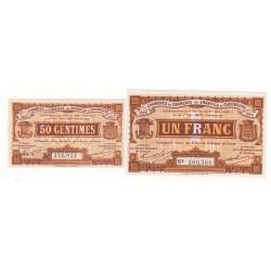 Lot de 2 billets Chambre de Commerce de GRANVILLE Pirot 1 et 3