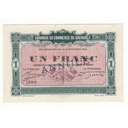 1 Franc Chambre de Commerce de GRENOBLE ANNULE NEUF Pirot 7