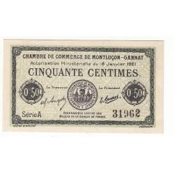 50 Centimes Chambre de Commerce de MONTLUCON NEUF Pirot 56