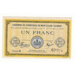 1 Franc Chambre de Commerce de MONTLUCON NEUF Pirot 15