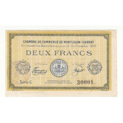 2 Francs Chambre de Commerce MONTLUCON-GANNAT Pirot 18