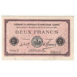 2 Francs Chambre de Commerce MONTLUCON-GANNAT Pirot 59