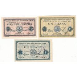 Lot de 3 Billets Chambre de Commerce MONTLUCON Pirot 40,42 et