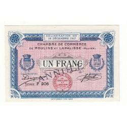 1 Franc Chambre de Commerce MOULINS et LAPALISSE ANNULE Pirot 14