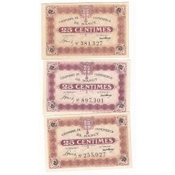 Lot de 3 Billets Chambre de Commerce NANCY Pirot 57 et 58