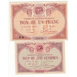 Lot de 2 Billets Chambre de Commerce NANTES Pirot 3 et 27