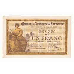 1 Franc Chambre de Commerce NARBONNE SPECIMEN Pirot 16