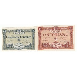 Lot de 2 Billets Chambre de Commerce NEVERS Pirot 18 et 19