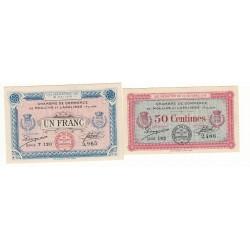 Lot de 2 Billets Chambre de Commerce MOULINS ET LAPALISSE Pirot 4-7