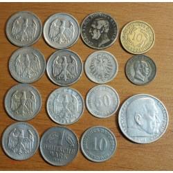 Germany, Allemagne lot monnaie 1 mark, 50 pfennig etc...