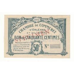 50 Centimes Chambre de Commerce d'Orléans et Loiret Spécimen 1914 Pirot 1