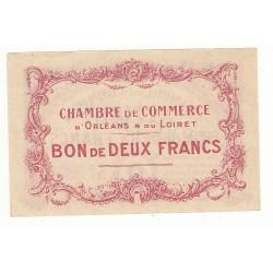 2 Francs Chambre de Commerce d'Orléans et Loiret Spécimen 1914 Pirot 3