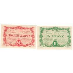Lot de 2 Billets Chambre de Commerce d'Orléans 1915 P/NEUF