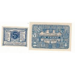 Lot de 2 Billets Chambre de Commerce Nord et Pas de Calais 1925 NEUF Pirot 1 et 5