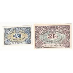 Lot de 2 Billets Chambre de Commerce de SAINT QUENTIN 1925 NEUF Pirot 1 et 8