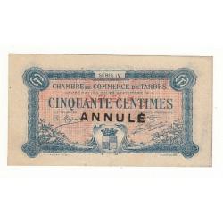50 Centimes Chambre de Commerce de TARBES ANNULE TTB+ 1917 Pirot 13