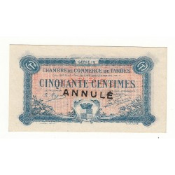 50 Centimes Chambre de Commerce de TARBES ANNULE NEUF 1917 Pirot 13
