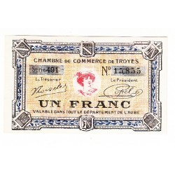 1 Franc Chambre de Commerce de TROYES NEUF Pirot 13