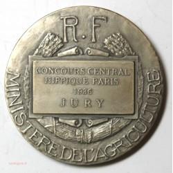 Médaille Argent Concours Hippique 1936 Paris - 41mm 36g Bouchard