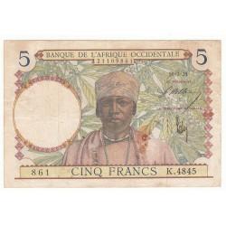 BANQUE DE L'AFRIQUE OCCIDENTALE 5 FRANCS 1938