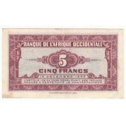 BANQUE DE L'AFRIQUE OCCIDENTALE 5 FRANCS 1942