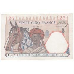 BANQUE DE L'AFRIQUE OCCIDENTALE 25 FRANCS 1942 SUP+