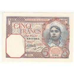 ALGERIE 5 FRANCS 1928 SPL