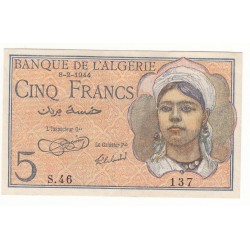 ALGERIE 5 FRANCS 1944 NEUF