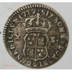 1/12 ecu ou X-S de France-Navarre Louis XV 1719 9 RENNES R2, joli monnaie