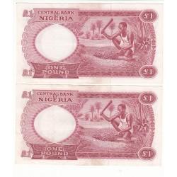 NIGERIA  LOT DE 2 BILLETS 1 Pound 1967