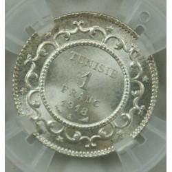 "TUNISIE - 1 Franc 1918 A ""MS 64 Géni"" Mohamed en Naceur"