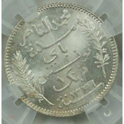 """TUNISIE - 1 Franc 1918 A """"MS 64"""" Mohamed en Naceur"""