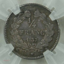 1/4 de FRANC LOUIS-PHILIPPE Ier 1837 A SUP 14F003