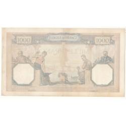1000 FRANCS CERES  ET MERCURE 26 Août 1937 TB+