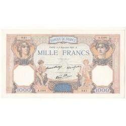 1000 FRANCS CERES ET MERCURE 9 Décembre 1937 TTB+