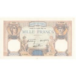 1000 FRANCS CERES ET MERCURE 18 Juillet 1940 P/SUP