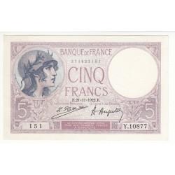5 FRANCS VIOLET 21 Novembre 1922 SPL